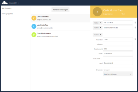 Screenshot: ownCloud - Open-Source Kalender und Adressbuch